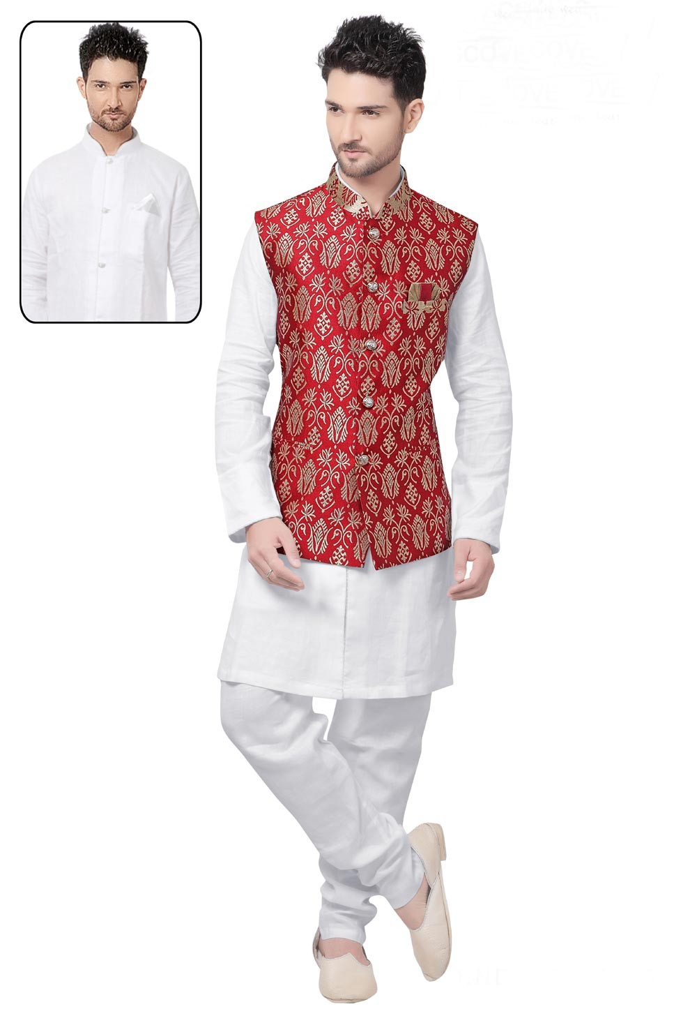 Men's Exquisite White,Maroon Color Readymade Kurta Pajama With Jacket
