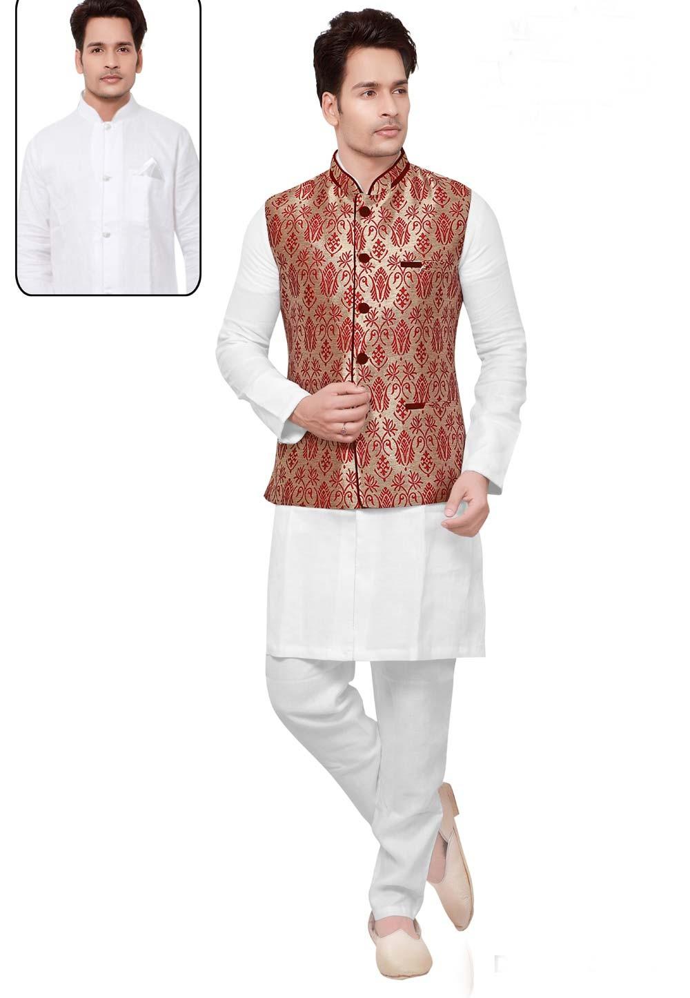 White,Cream Color Linen,Jacquard Readymade Kurta For Mens