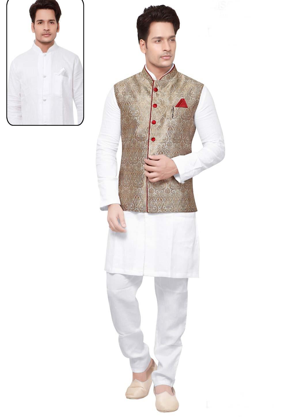 White,Beige Color Readymade Kurta Pajama.