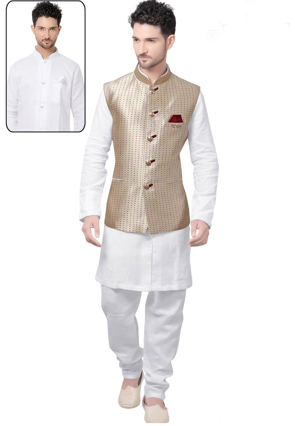 Exquisite White,Beige Color Readymade Latest Kurta Pajama with Nehru Jacket