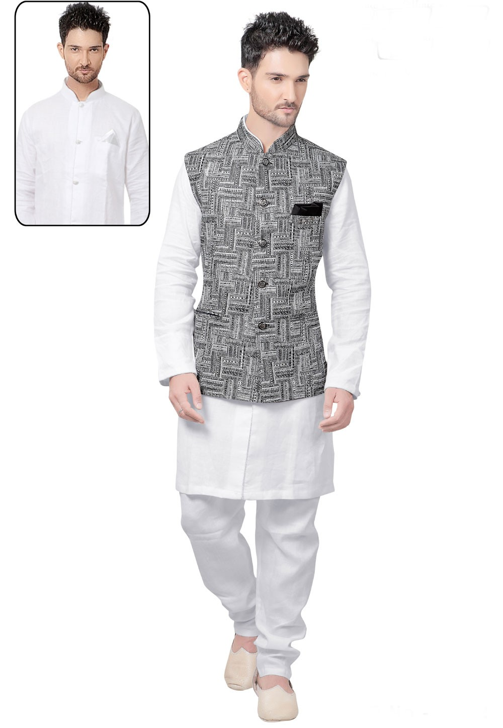 White,Black Color Designer Kurta Pajama with Jacket