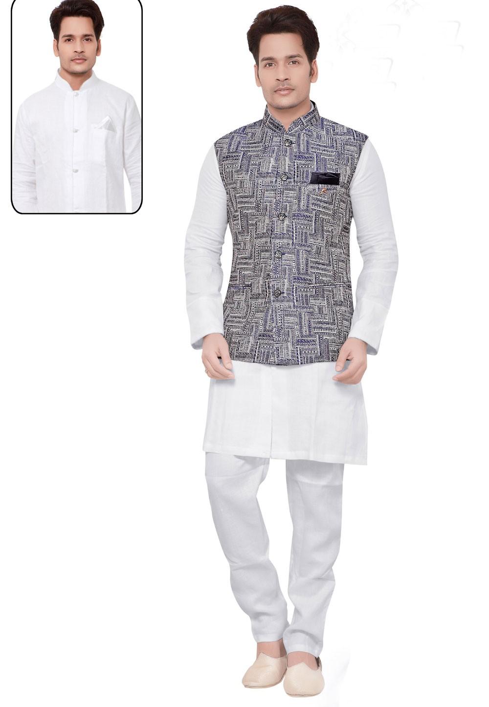 White,Blue Color Linen,Cotton Kurta Pajama with Jacket