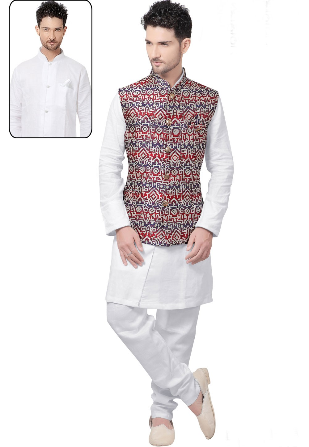 Exquisite White,Blue Color Men's Latest Kurta Pajama with Nehru Jacket