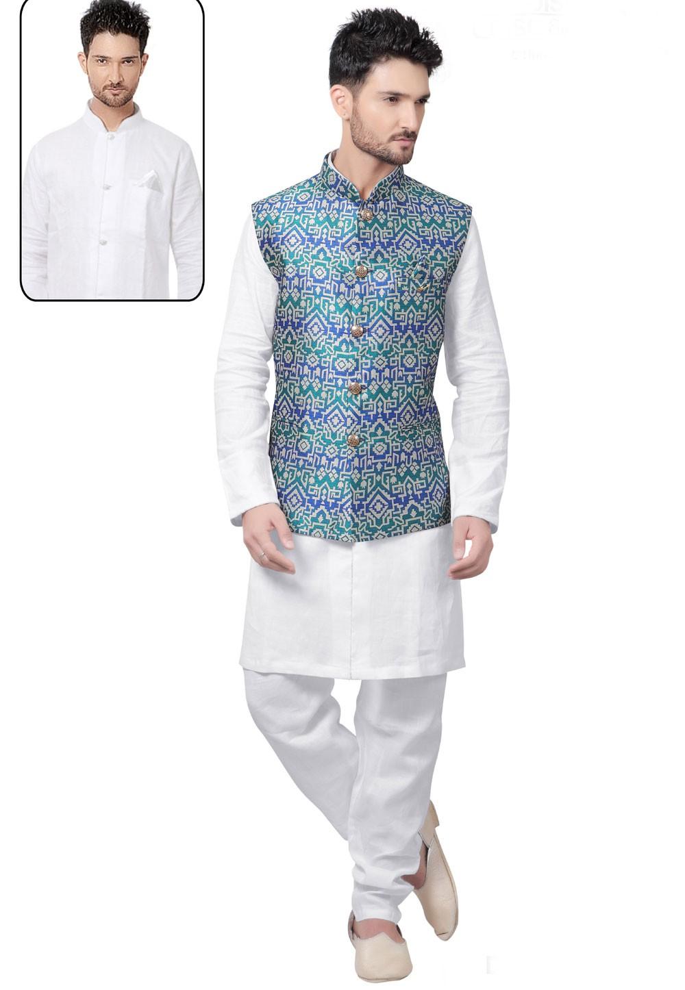 Raglan Sleeves White,Green Color Latest Kurta Pajama with Nehru Jacket