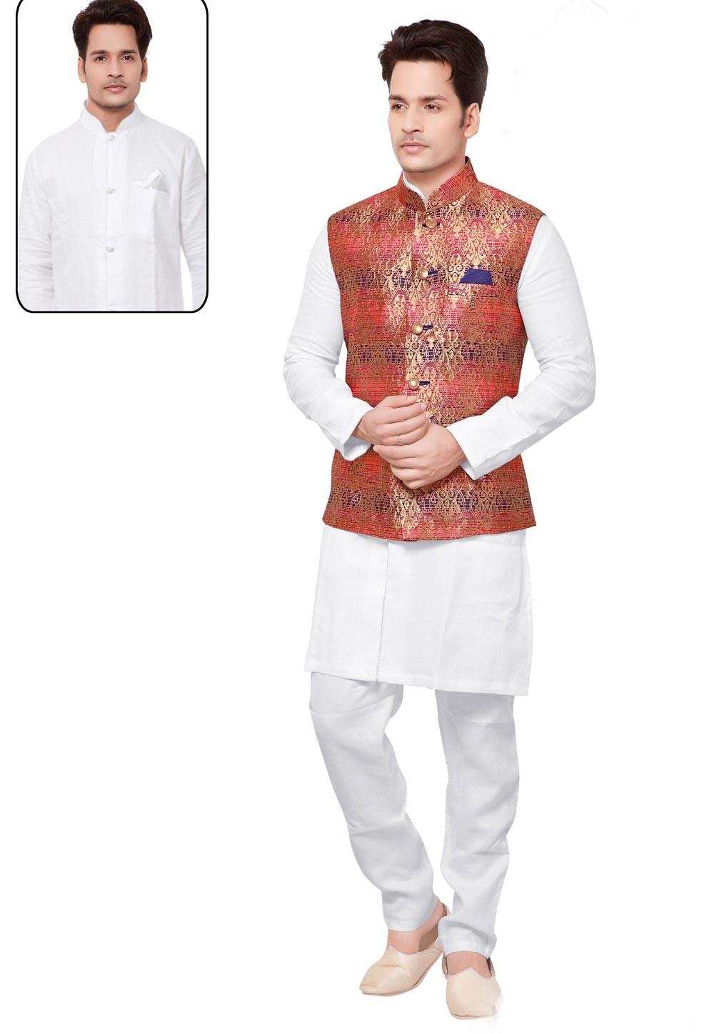 White,Red Color Men's Readymade Latest Kurta Pajama with Nehru Jacket