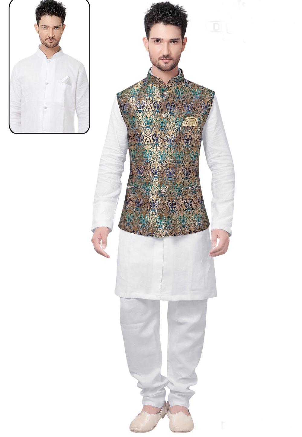 White,Golden Color Brocade Silk Kurta Pajama with Jacket