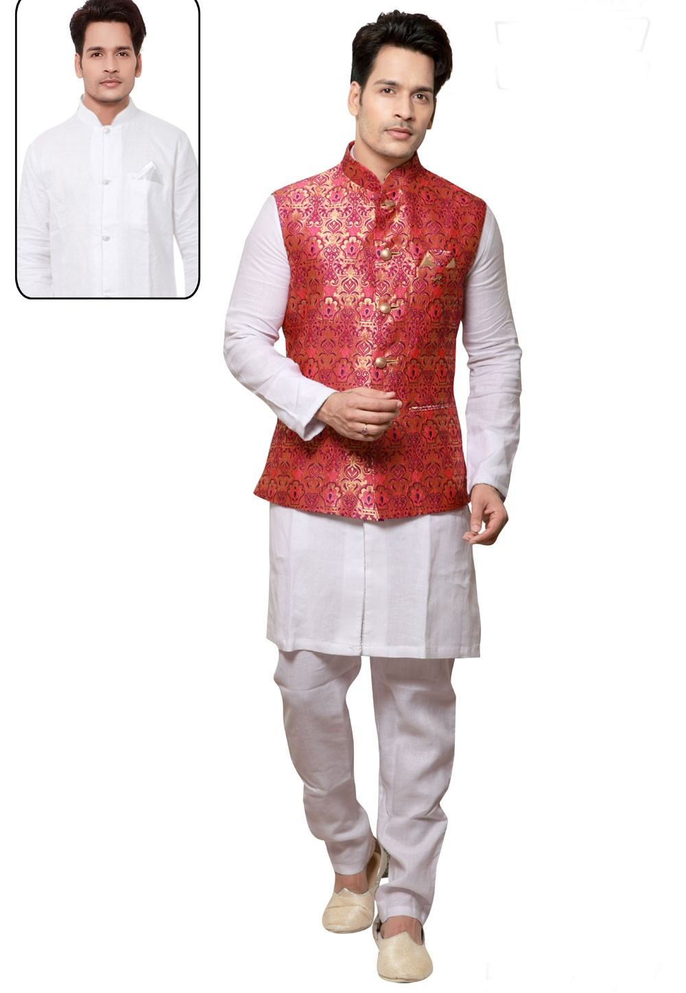 White,Red Color Linen Kurta Pajama with Jacket