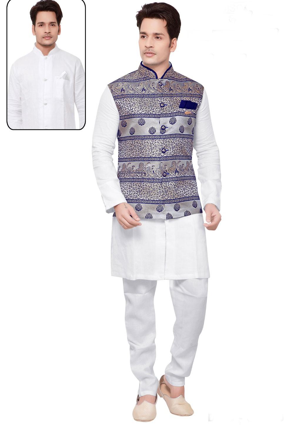 White,Multi Color Designer Kurta Pajama with Jacket