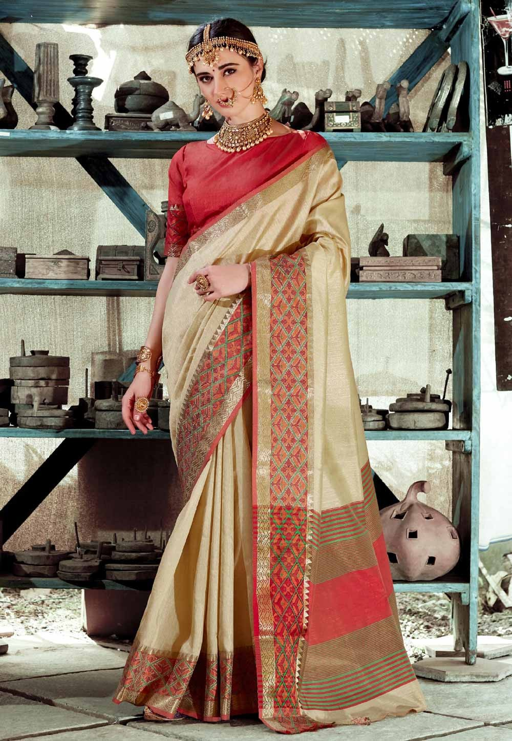 Beautiful Beige Color Printed Saree