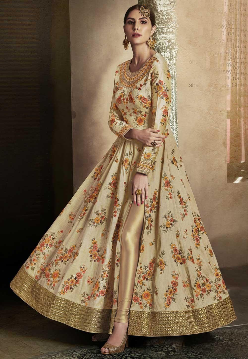 Astounding Beige Color Designer Salwar Kameez