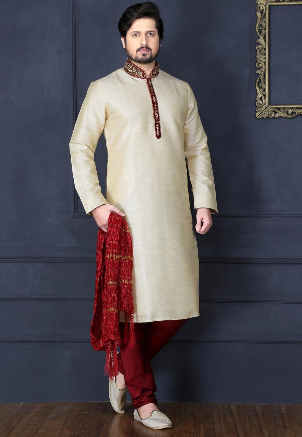 Exquisite Cream Color Art Silk Readymade Kurta Pajama.