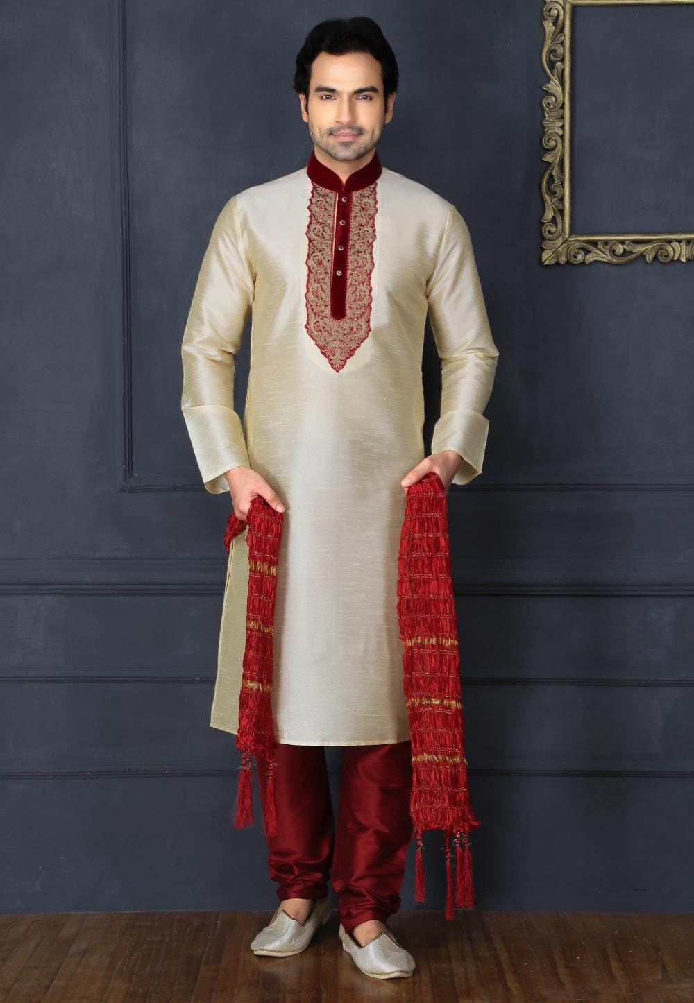 Men's Exquisite Cream Color Art Silk Readymade Kurta Pajama.
