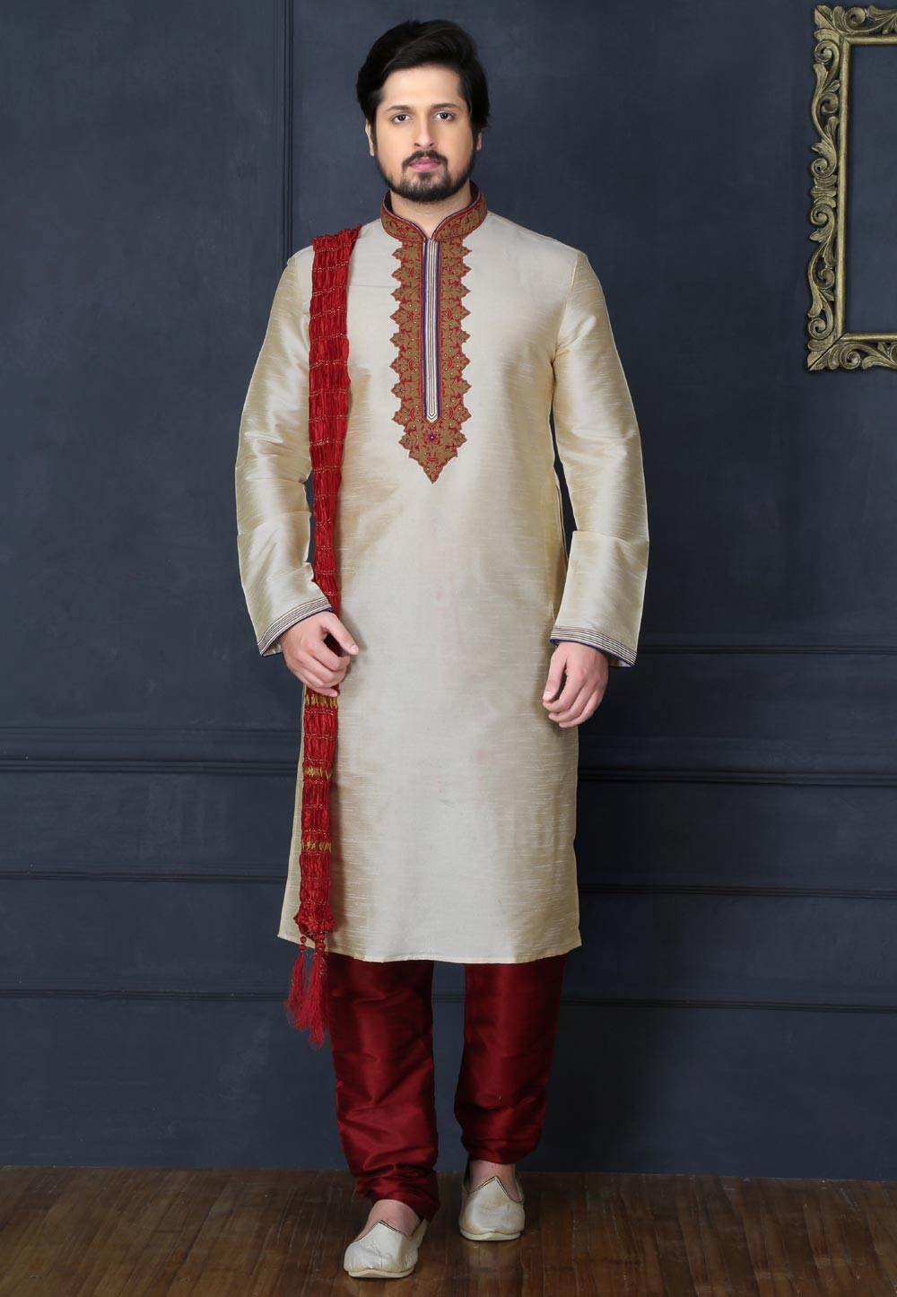 Men's Exquisite Golden Color Readymade Kurta