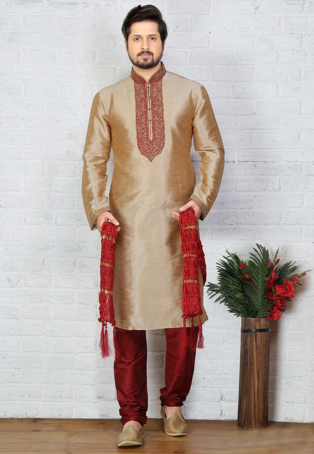 Beige Color Art Silk Kurta Pajama