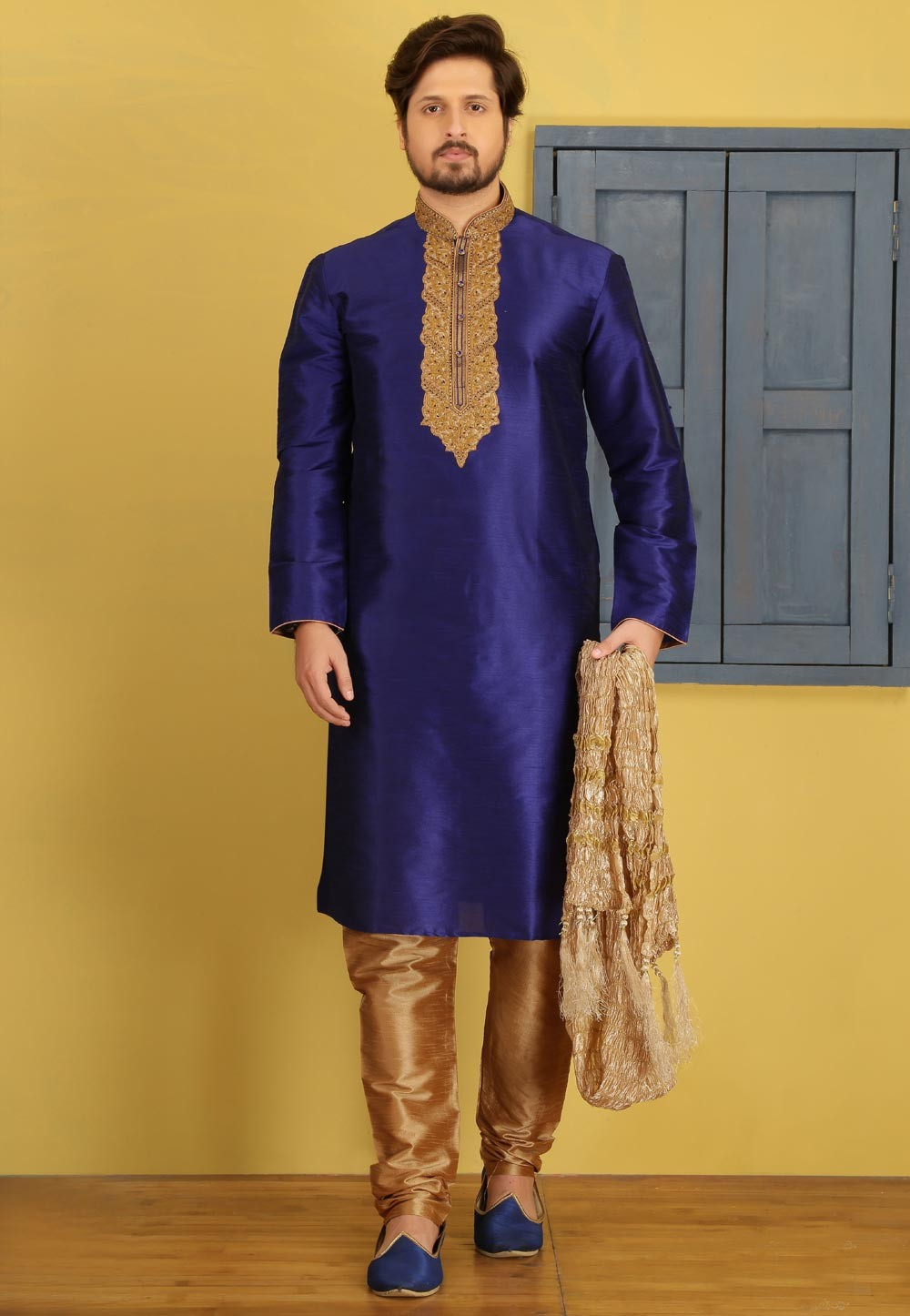 Blue Color Party Wear Kurta Pajama