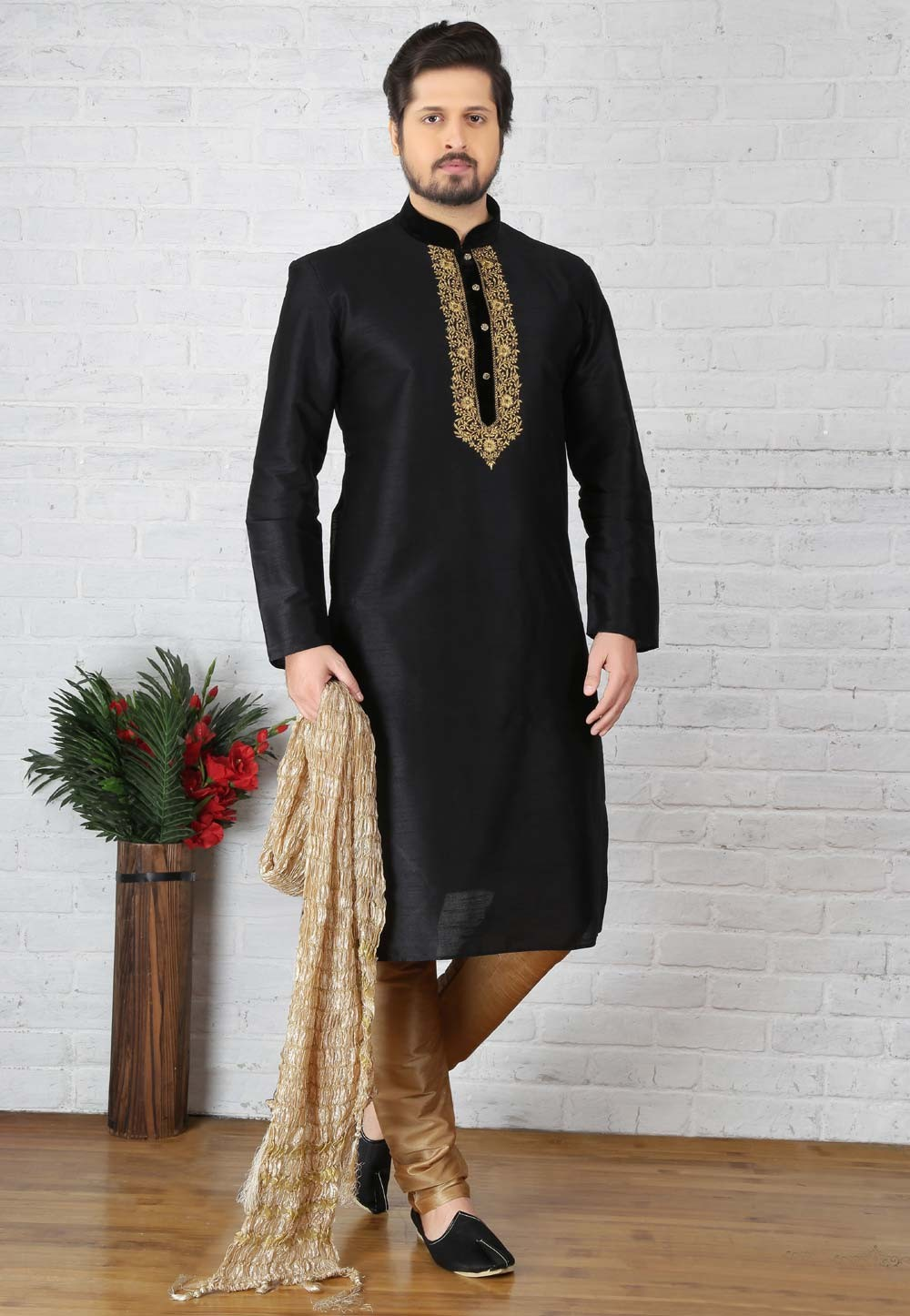 Black Color Art Silk Readymade Kurta Pajama