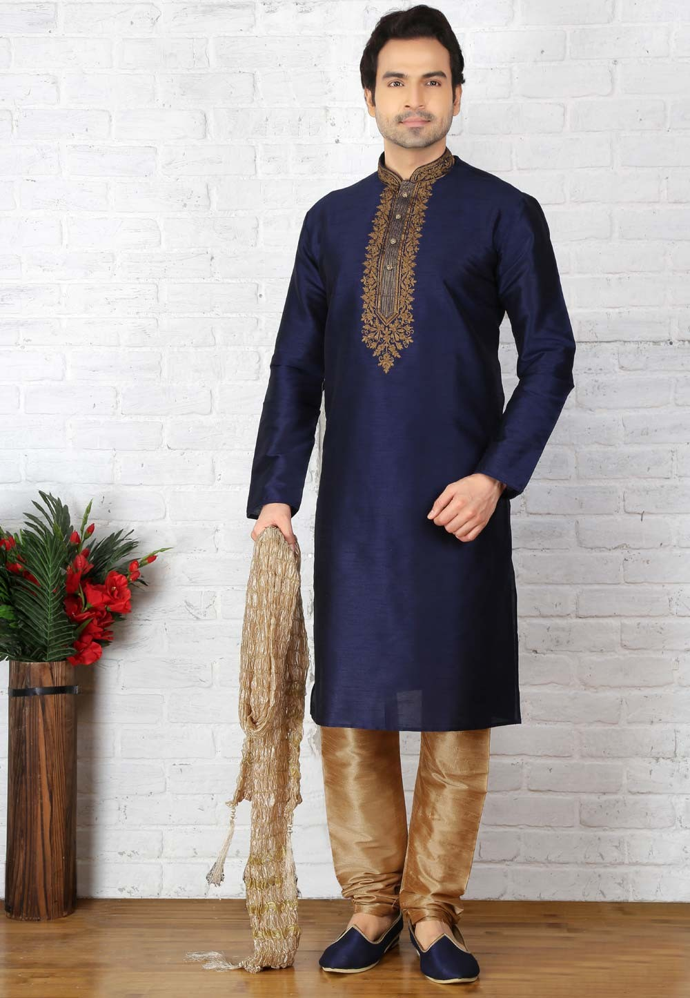 Blue Color Designer Kurta Pajama in Art Silk