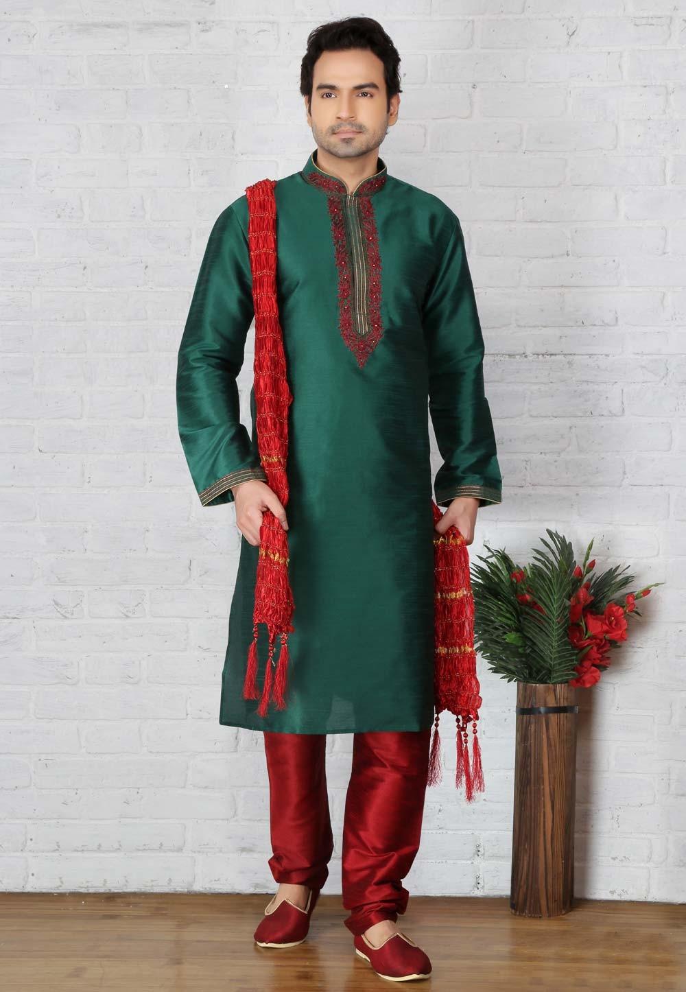 Traditional Look Green Color Readymade Kurta Pajama
