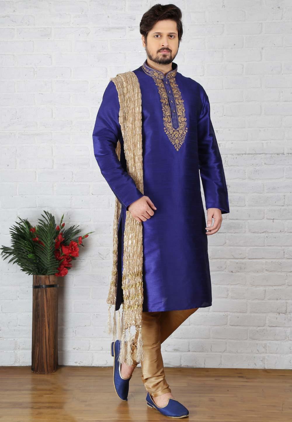 Blue Color Art Silk Readymade Kurta Pajama