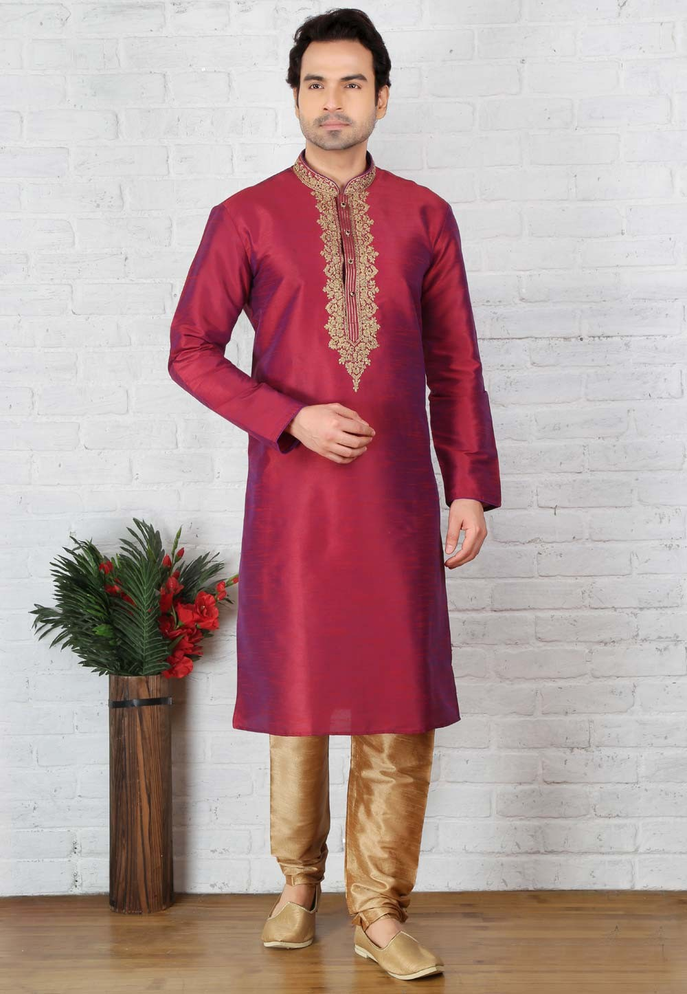 Exquisite Red Color Art Silk Fabric Readymade Kurta For Mens