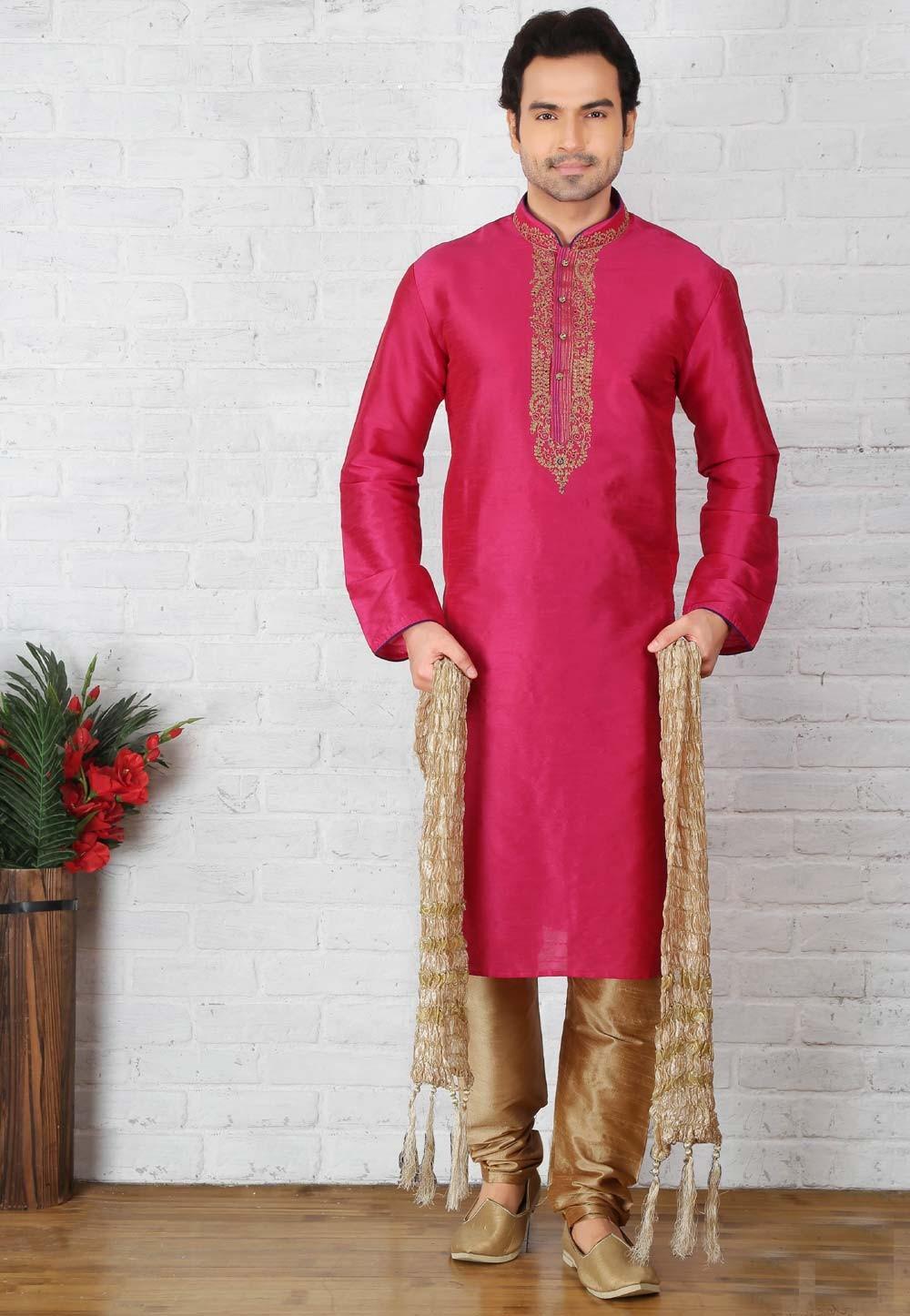 Pink Color Art Silk Readymade Kurta Pajama