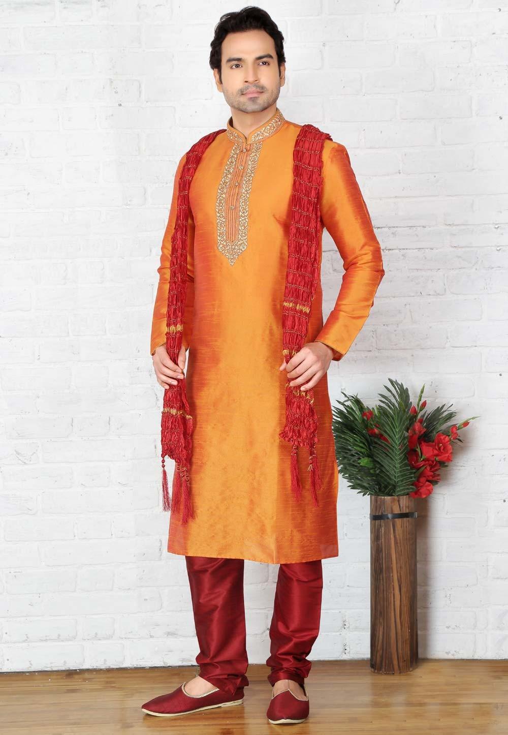 Orange Color Art Silk Readymade Kurta Pajama
