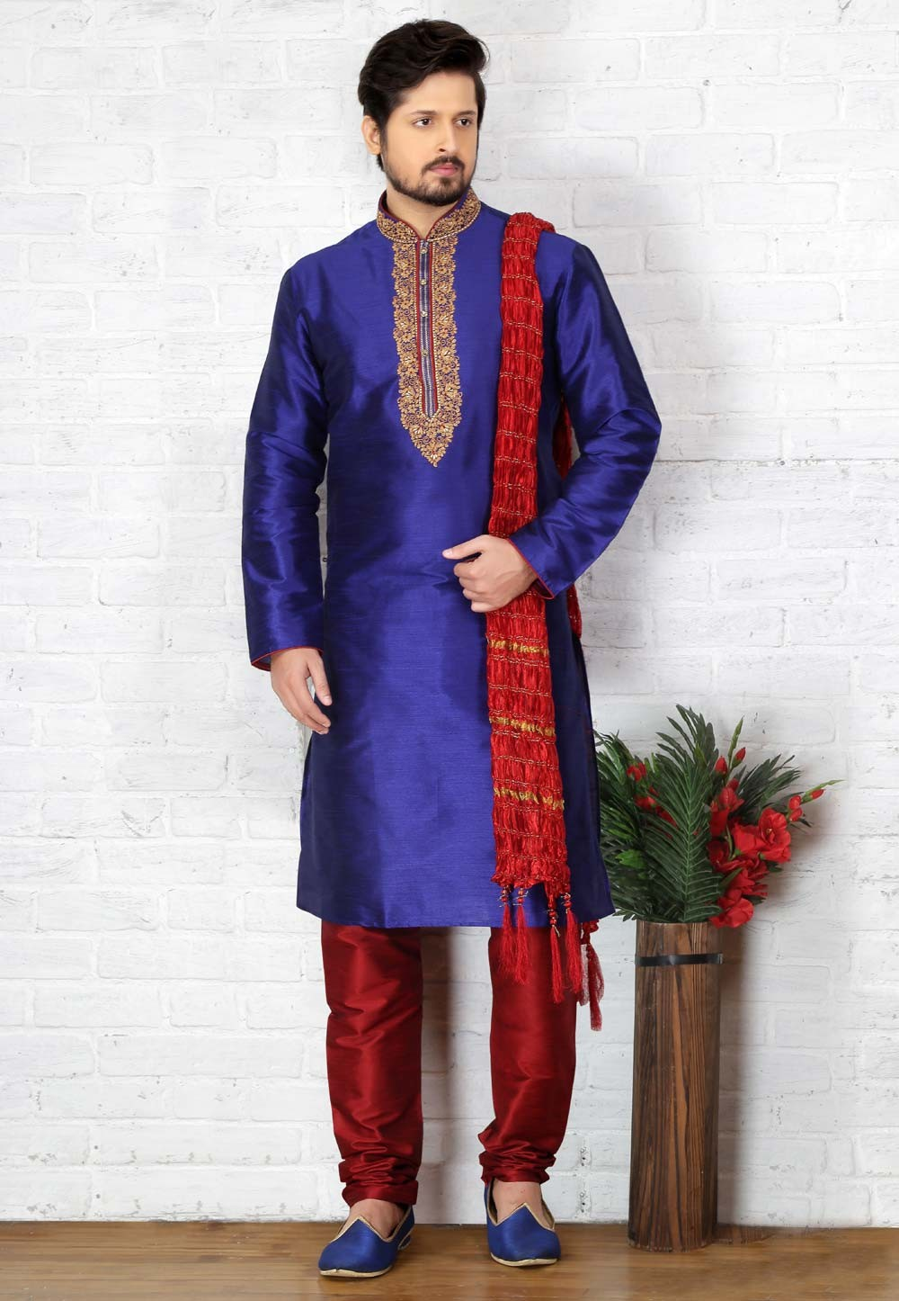 Blue Color Art Silk Designer Kurta Pajama