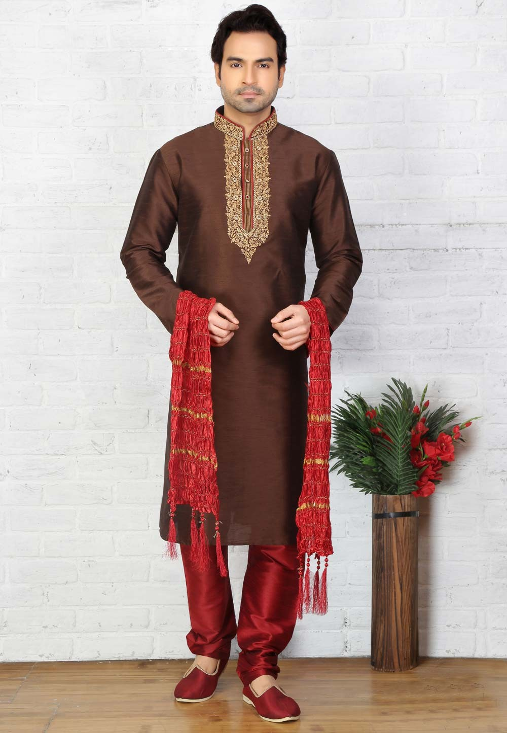 Brown Color Art Silk Readymade Kurta For Mens