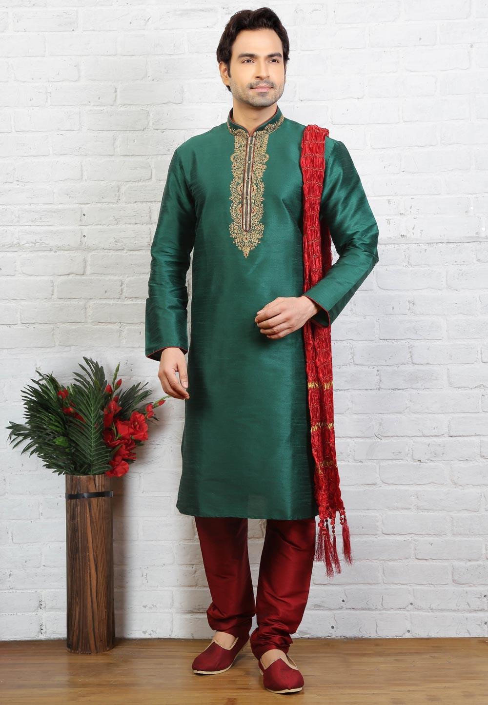 Green Color Art Silk Readymade Kurta Pajama