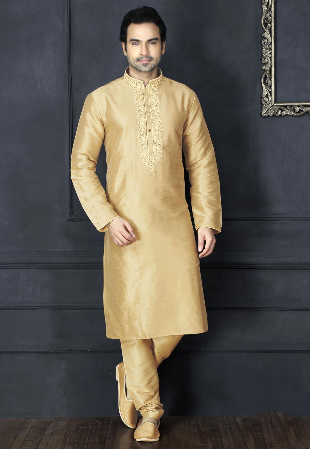 Exquisite Beige Color Art Silk Readymade Kurta For Mens
