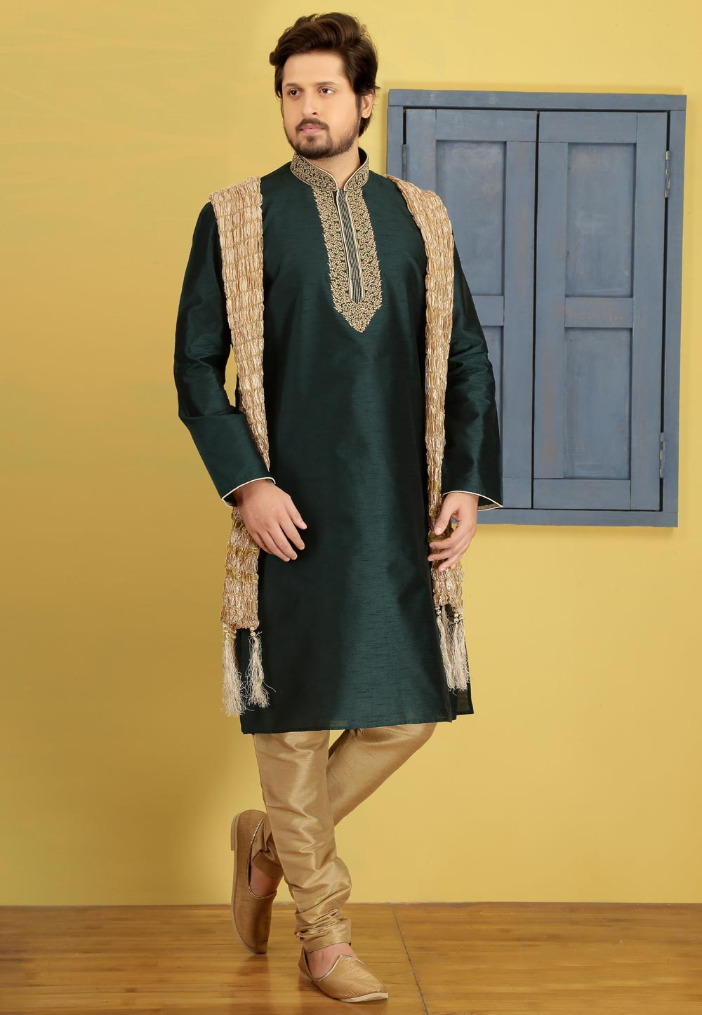 Exquisite Green Color Art Silk Readymade Kurta For Mens