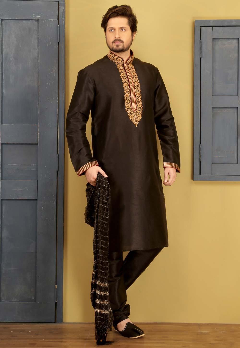 Black Color Art Silk Party Wear Kurat Pajama.