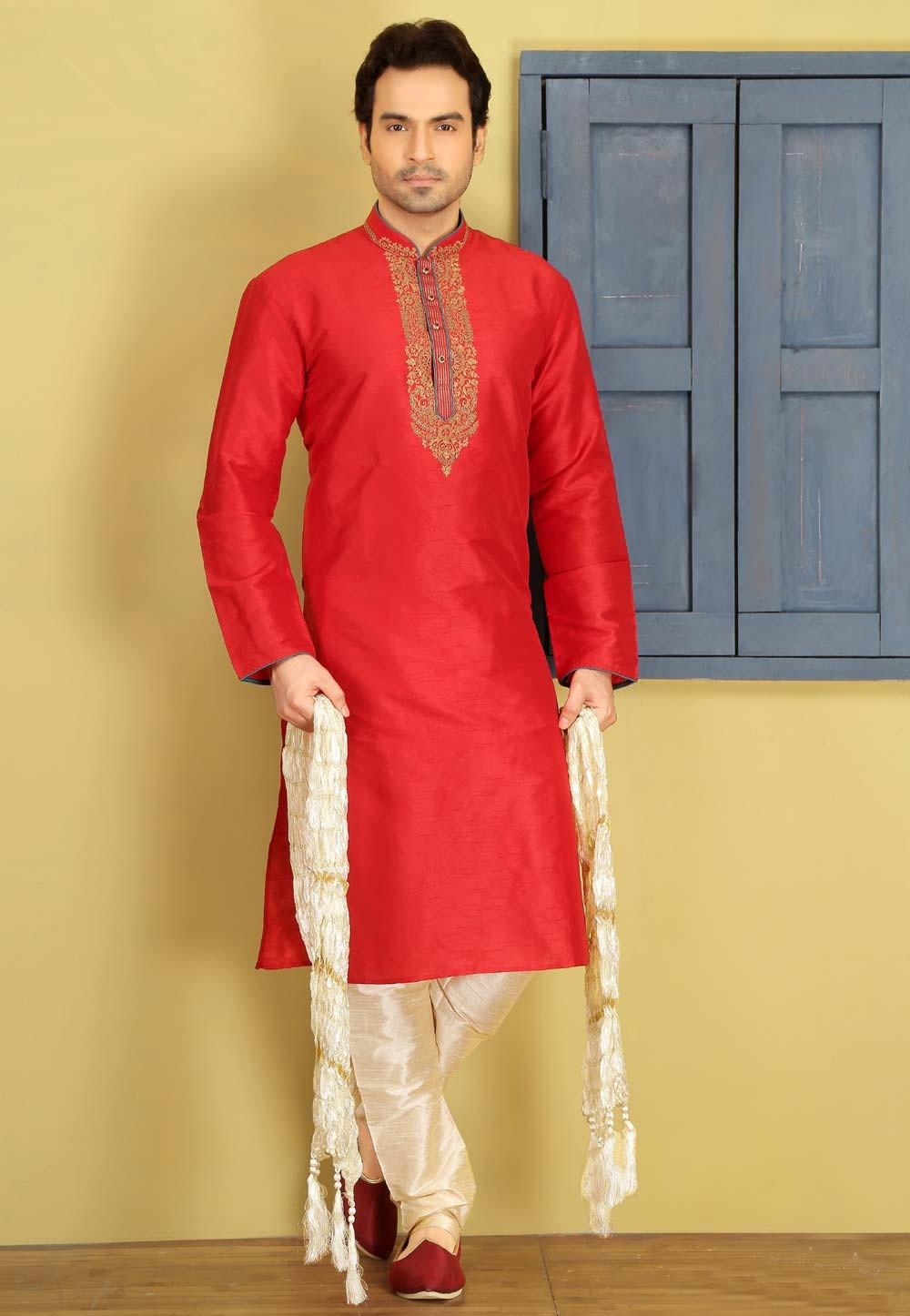 Exquisite Red Color Art Silk Readymade Kurta Pyjama