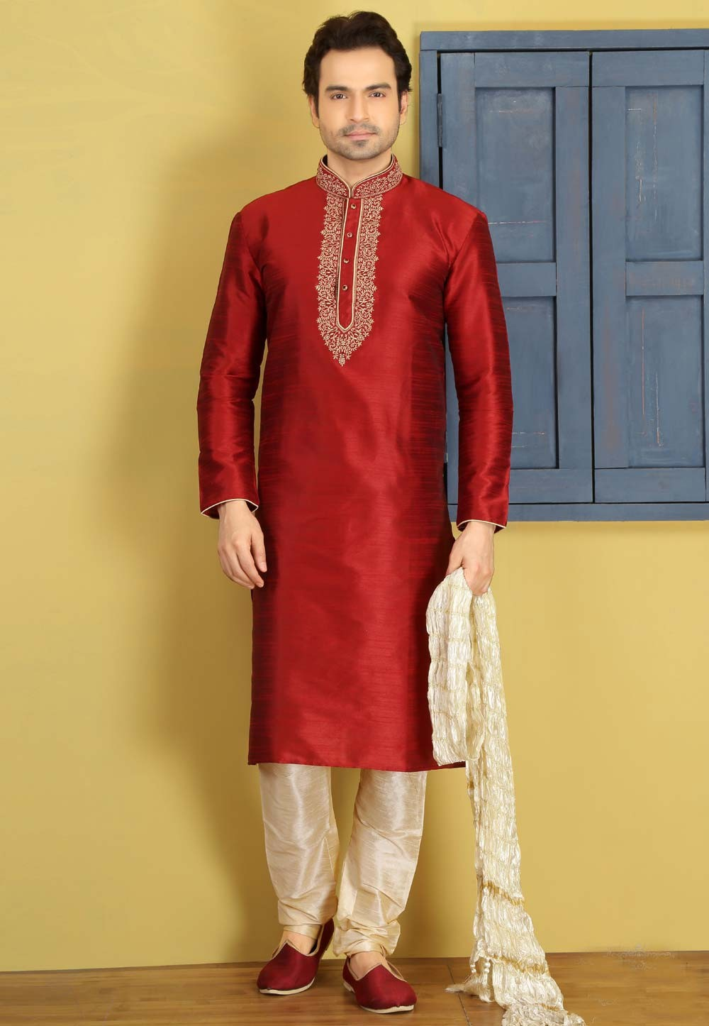 Maroon Color Art Silk Designer Kurta Pajama