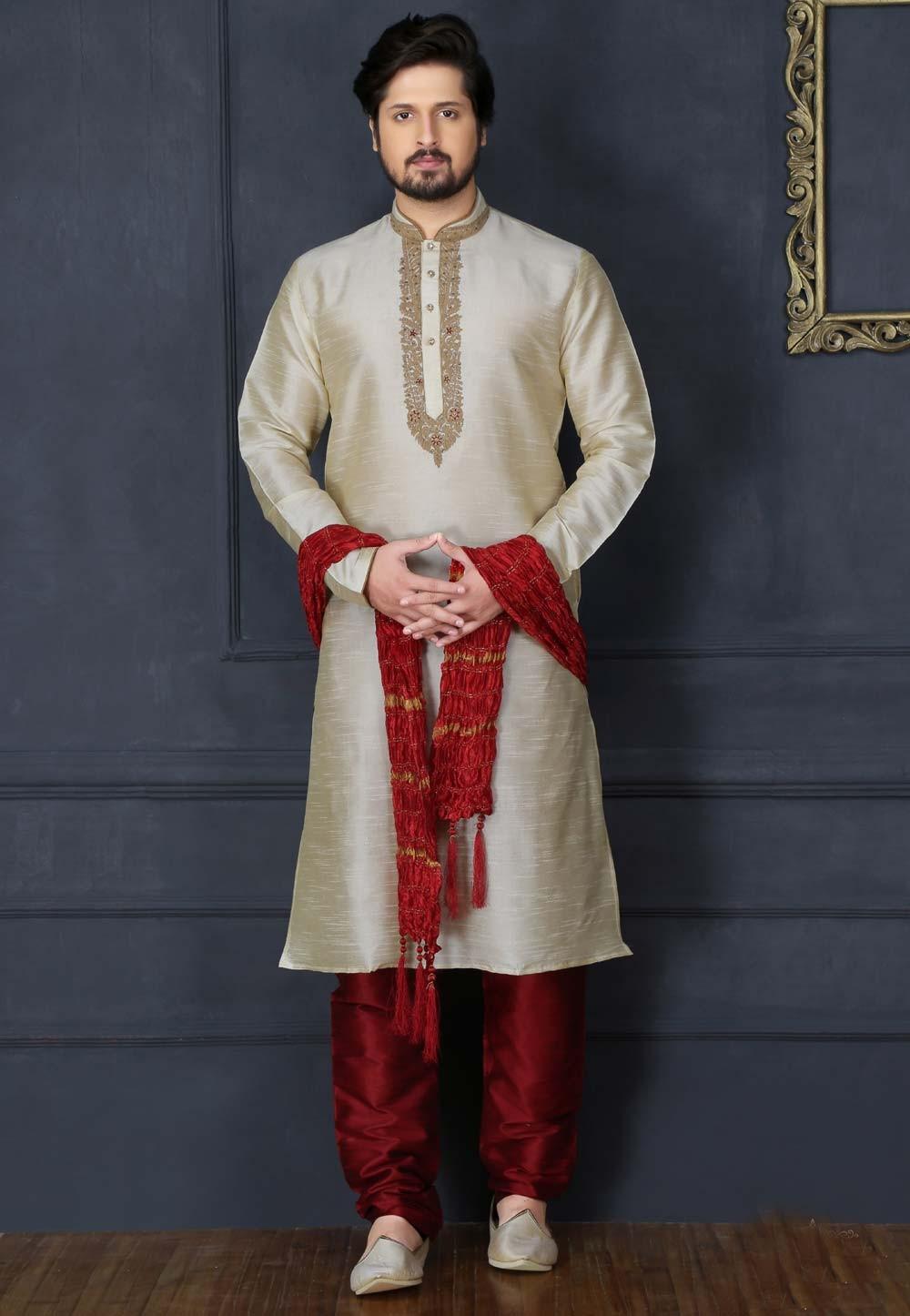 Beige Color Art Silk Fabric Readymade Kurta Pajama.