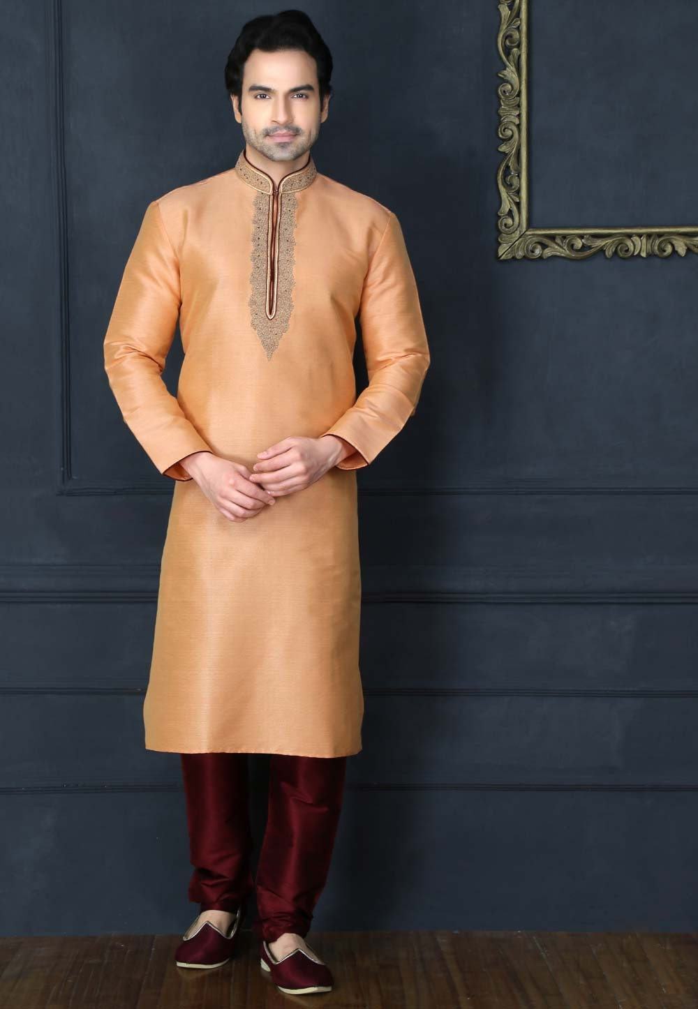 Men's Exquisite Peach Color Banarasi Silk & Art Silk Readymade Kurta Pyjama.