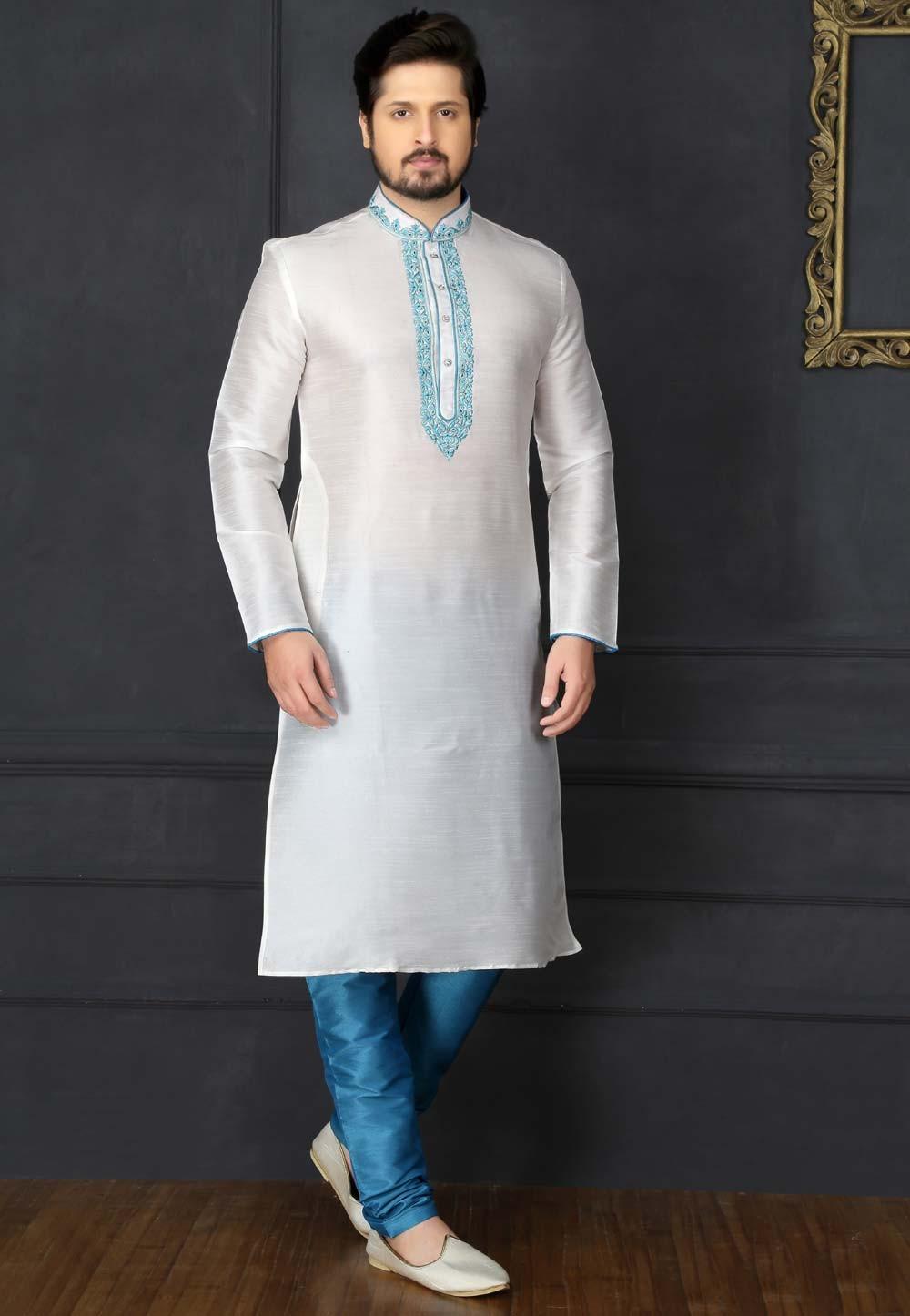 White Color Art Silk Readymade Kurta Pyjama