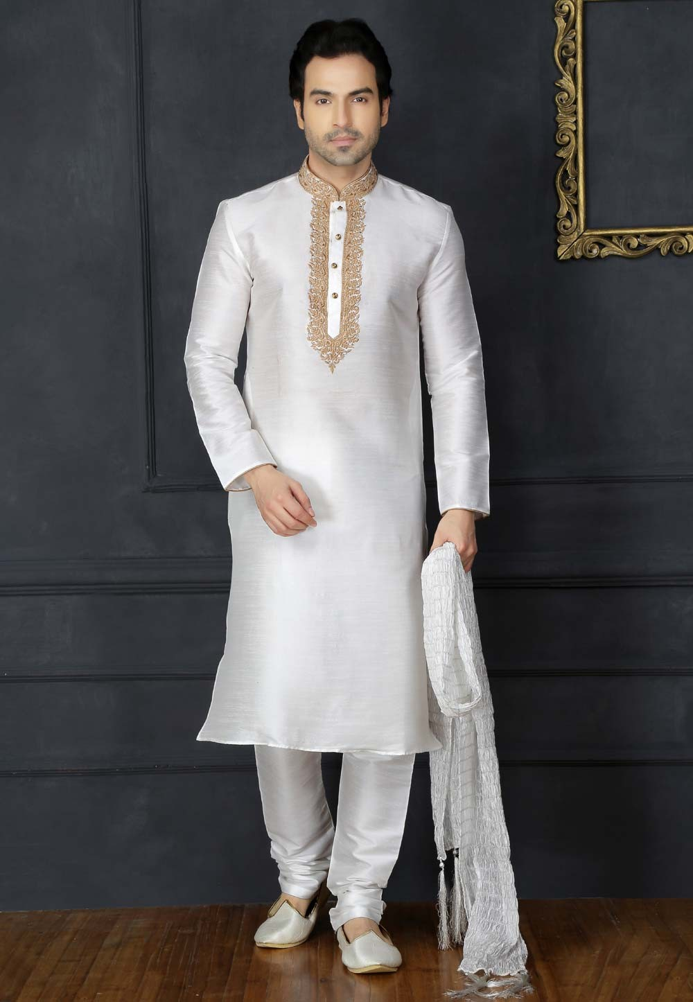 White Color Art Silk Designer Kurta Pajama.