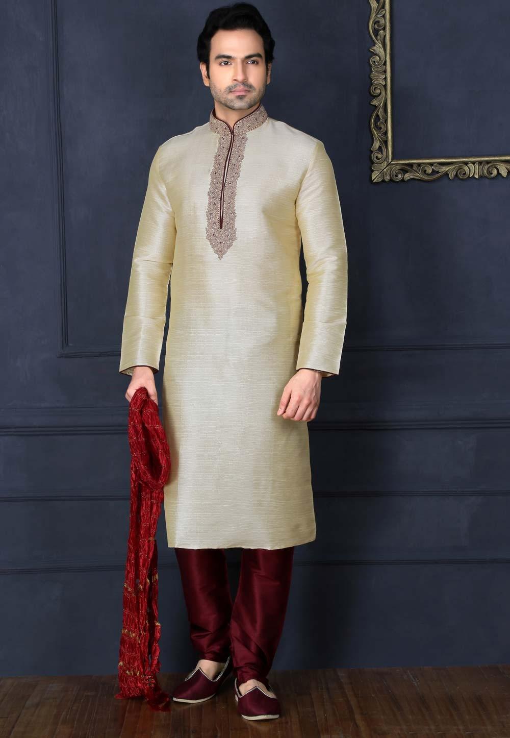 Exquisite Art Silk Beige Color Men's Readymade Kurta Pajama.