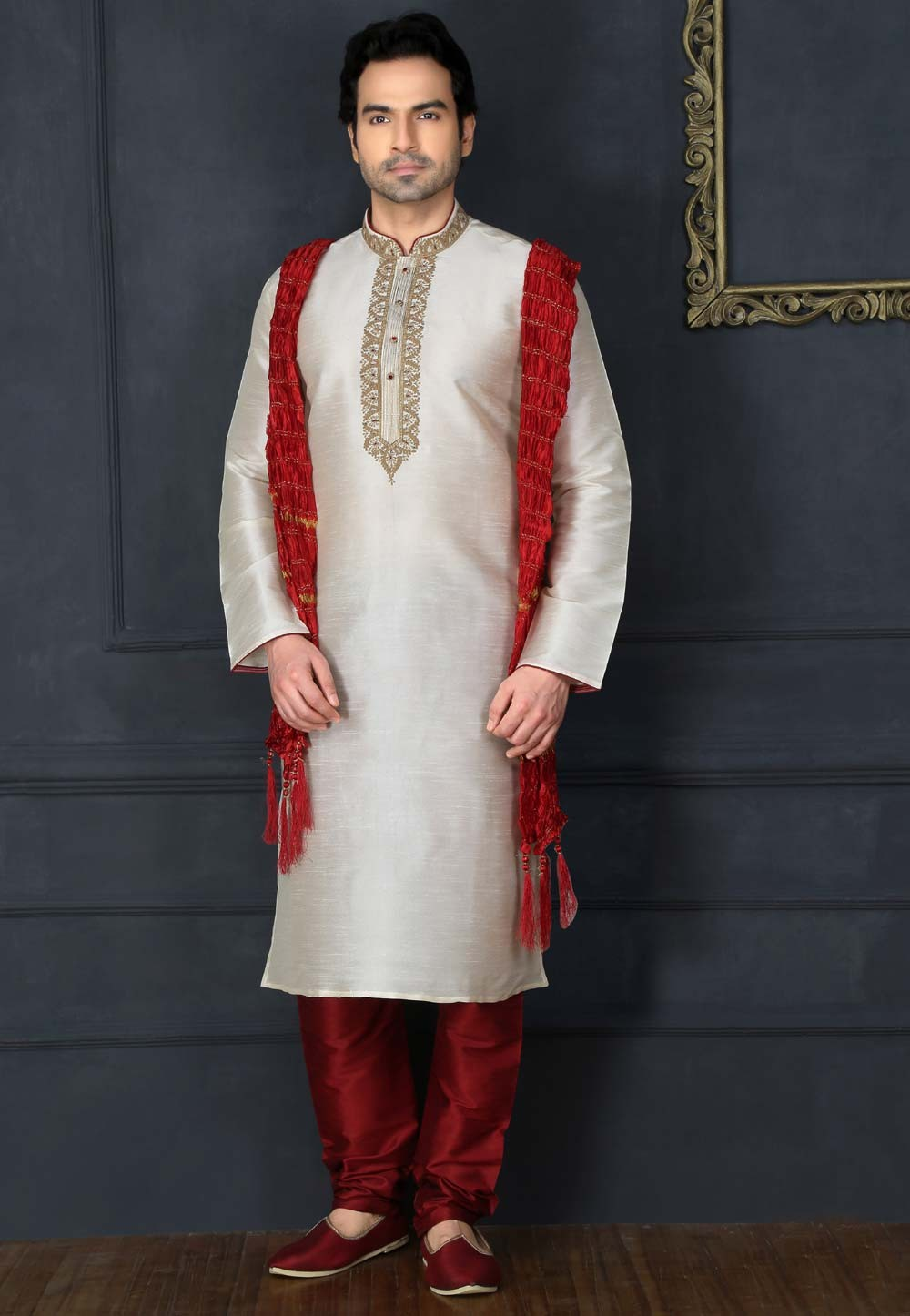 Men's Exquisite Off White Color Art Silk Readymade Kurta Pyjama.