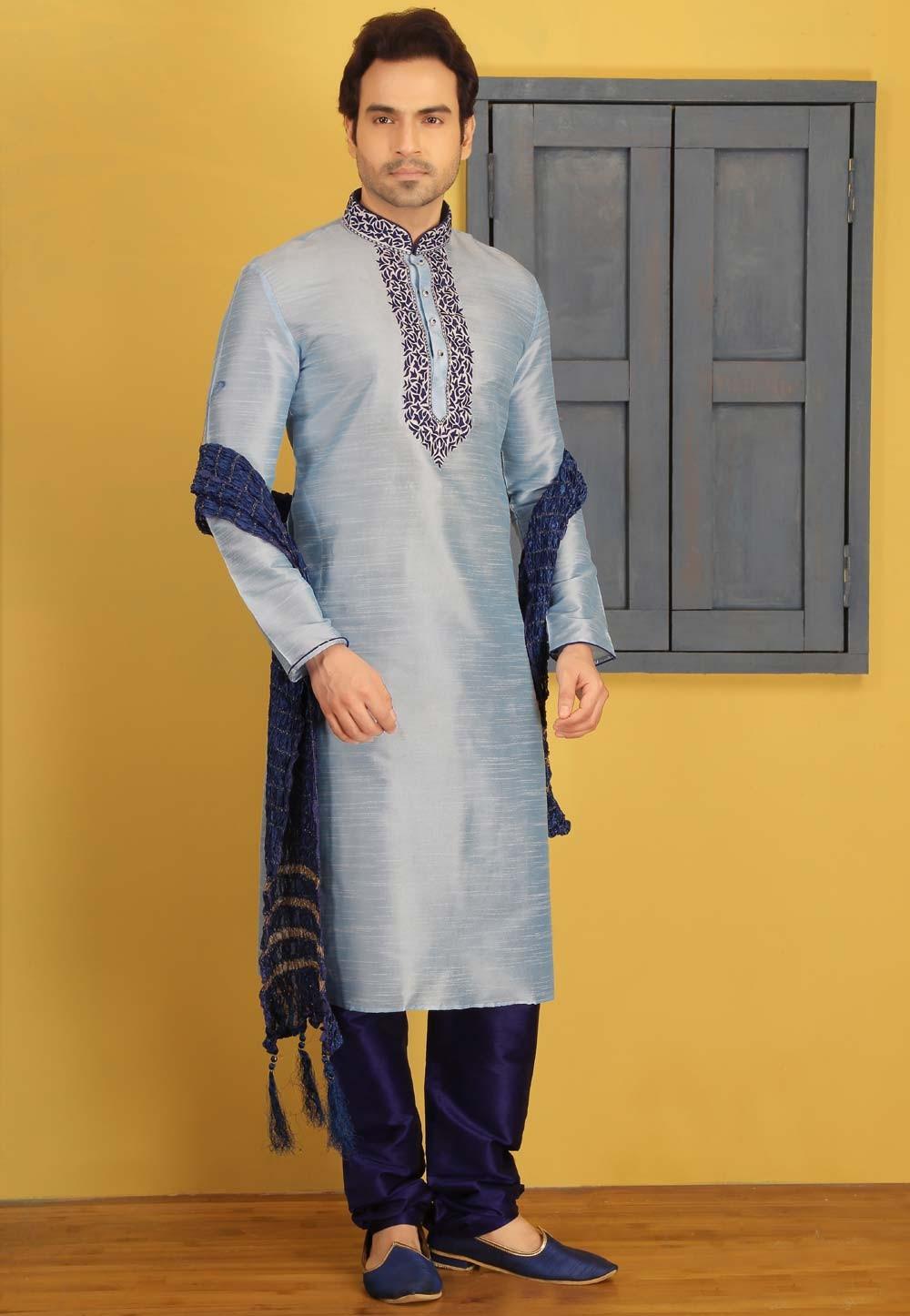 Blue Color Art Silk Designer Kurta Pajama