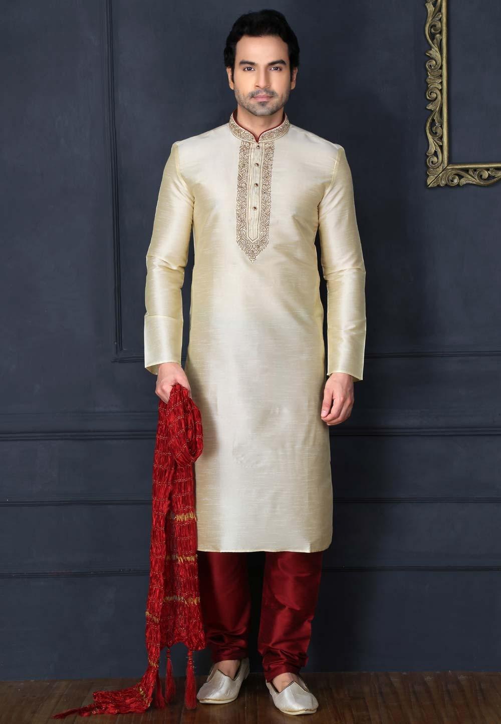 Cream Color Art Silk Readymade Kurta Pajama