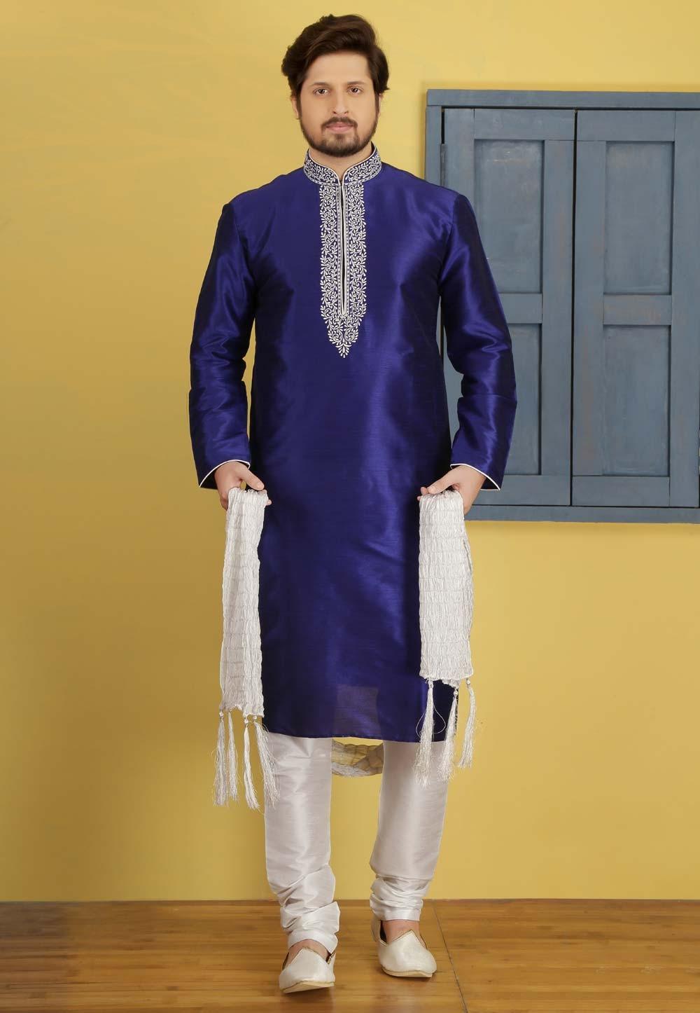 Navy Blue Color Designer Kurta Pyjama