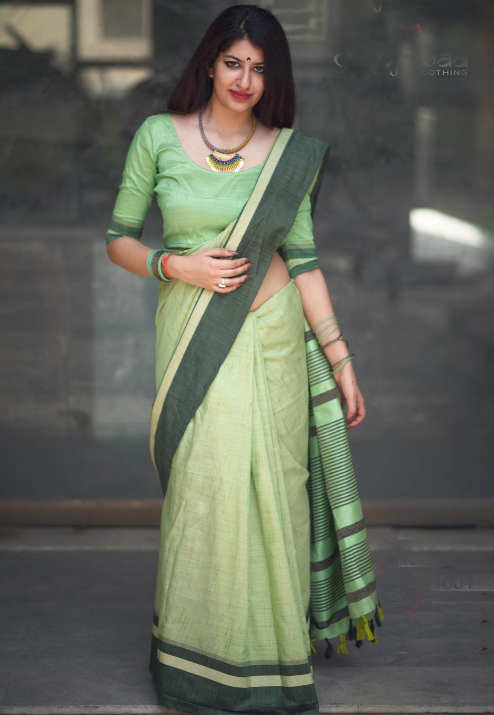 Green Color Cotton Fabric Traditional Saree
