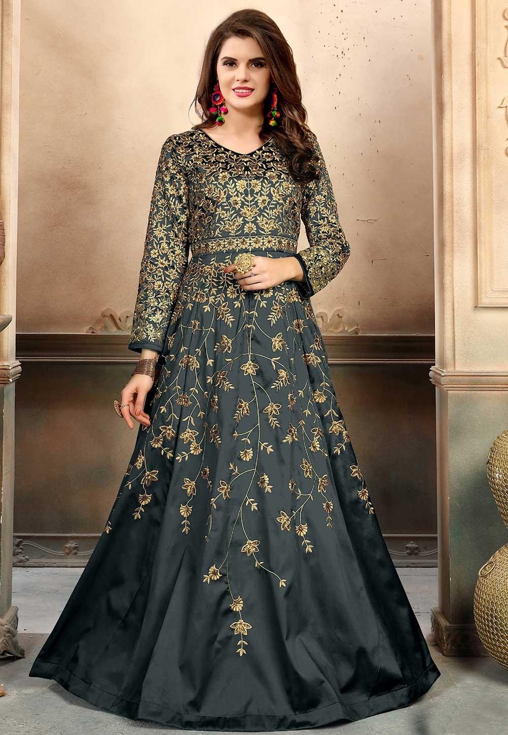 Grey Color Silk Fabric Anarkali Salwar Kameez