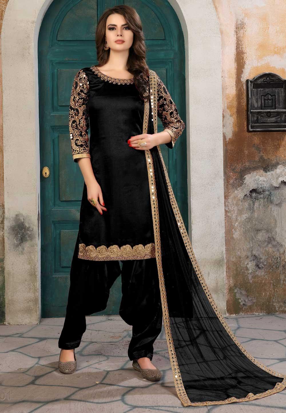 Black Color Art Silk Party Wear Salwar Kameez