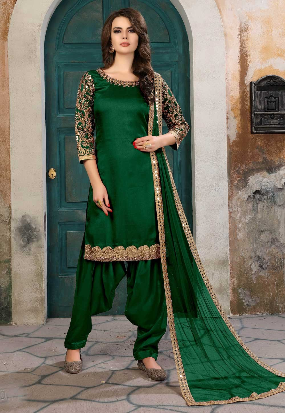 Designer Salwar Kameez in Green Color & Art Silk Fabric