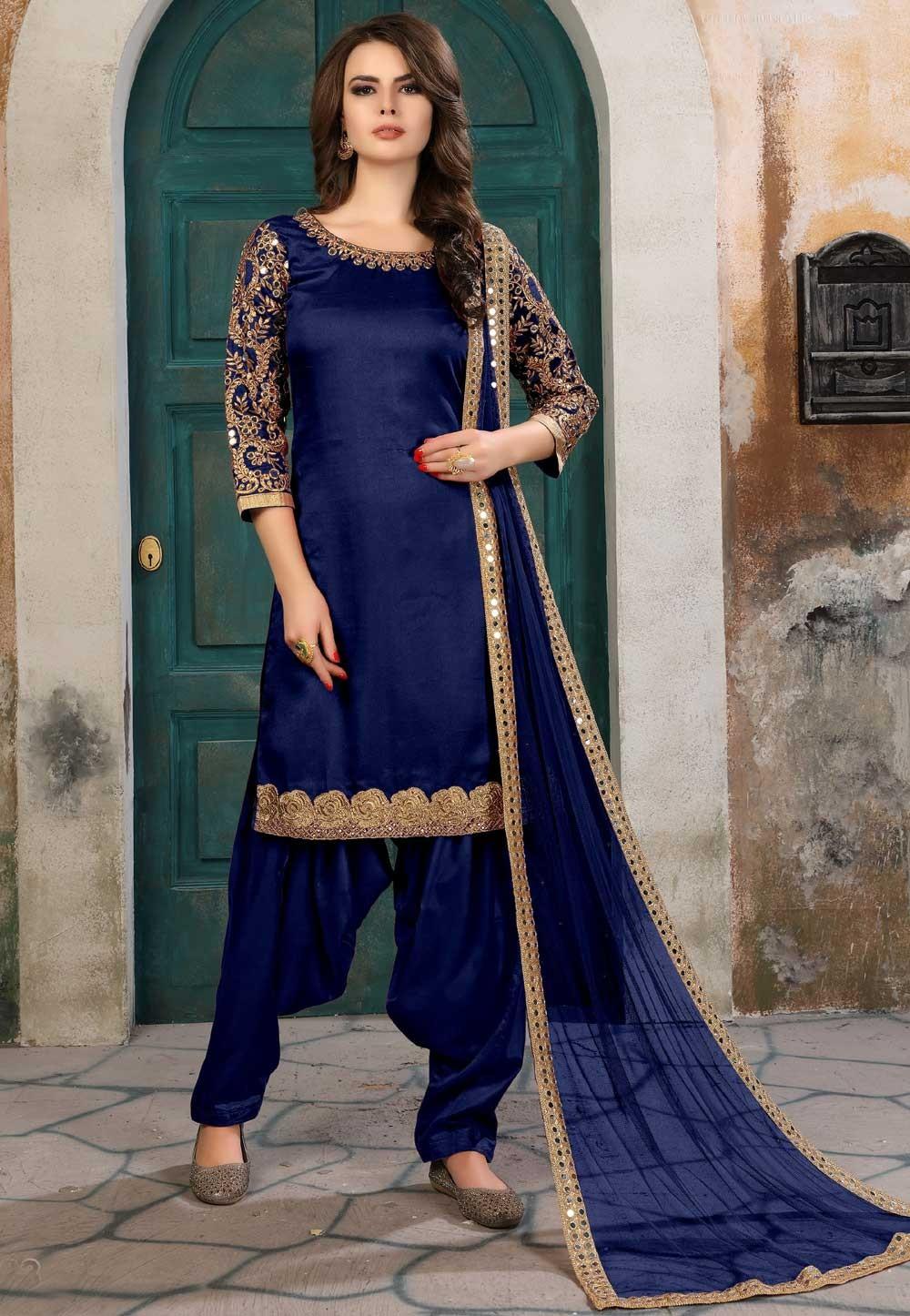 Nice Looking Navy Blue Color Party Wear Salwar Kameez