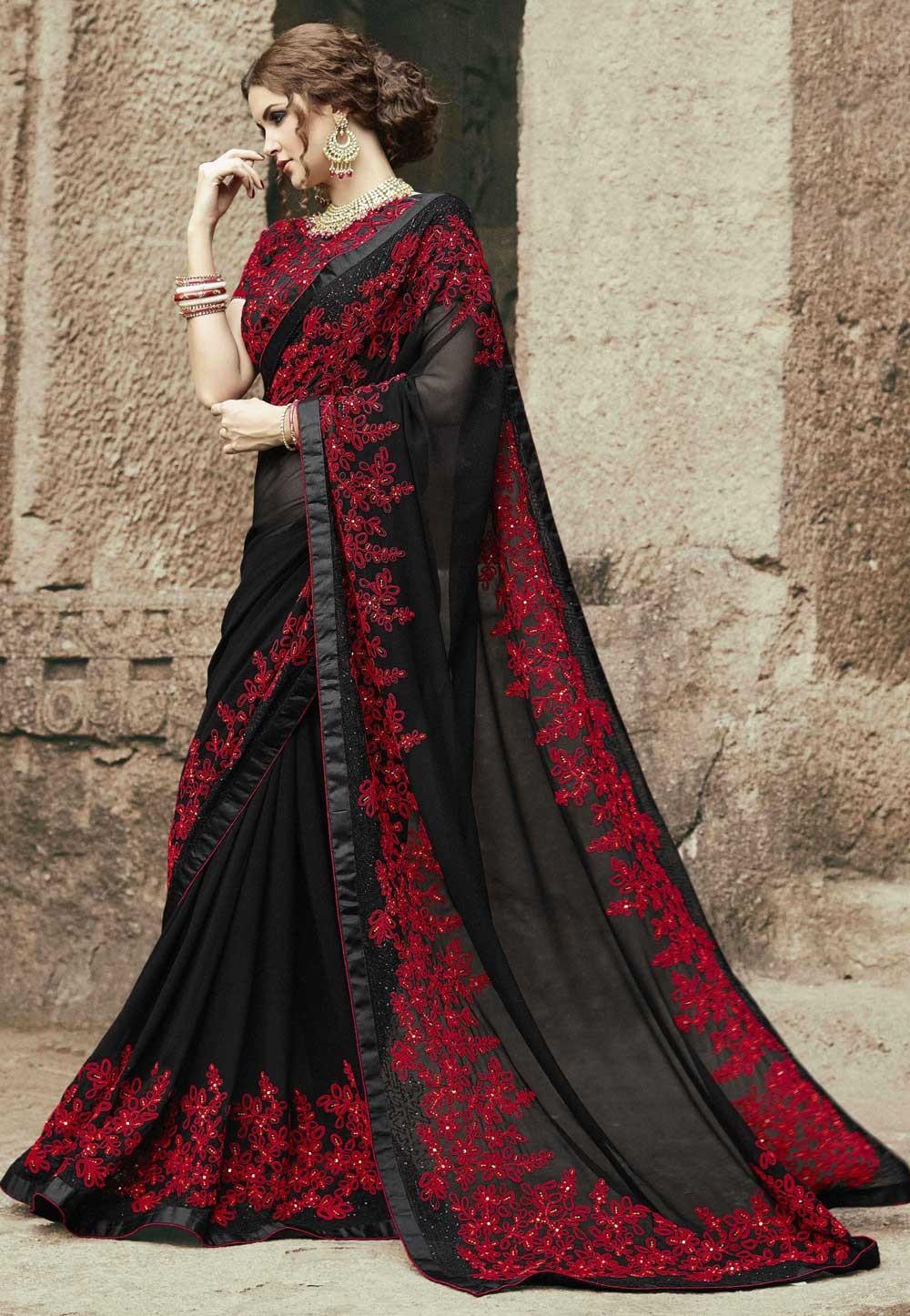 Black Color Georgette Party Wear Saree