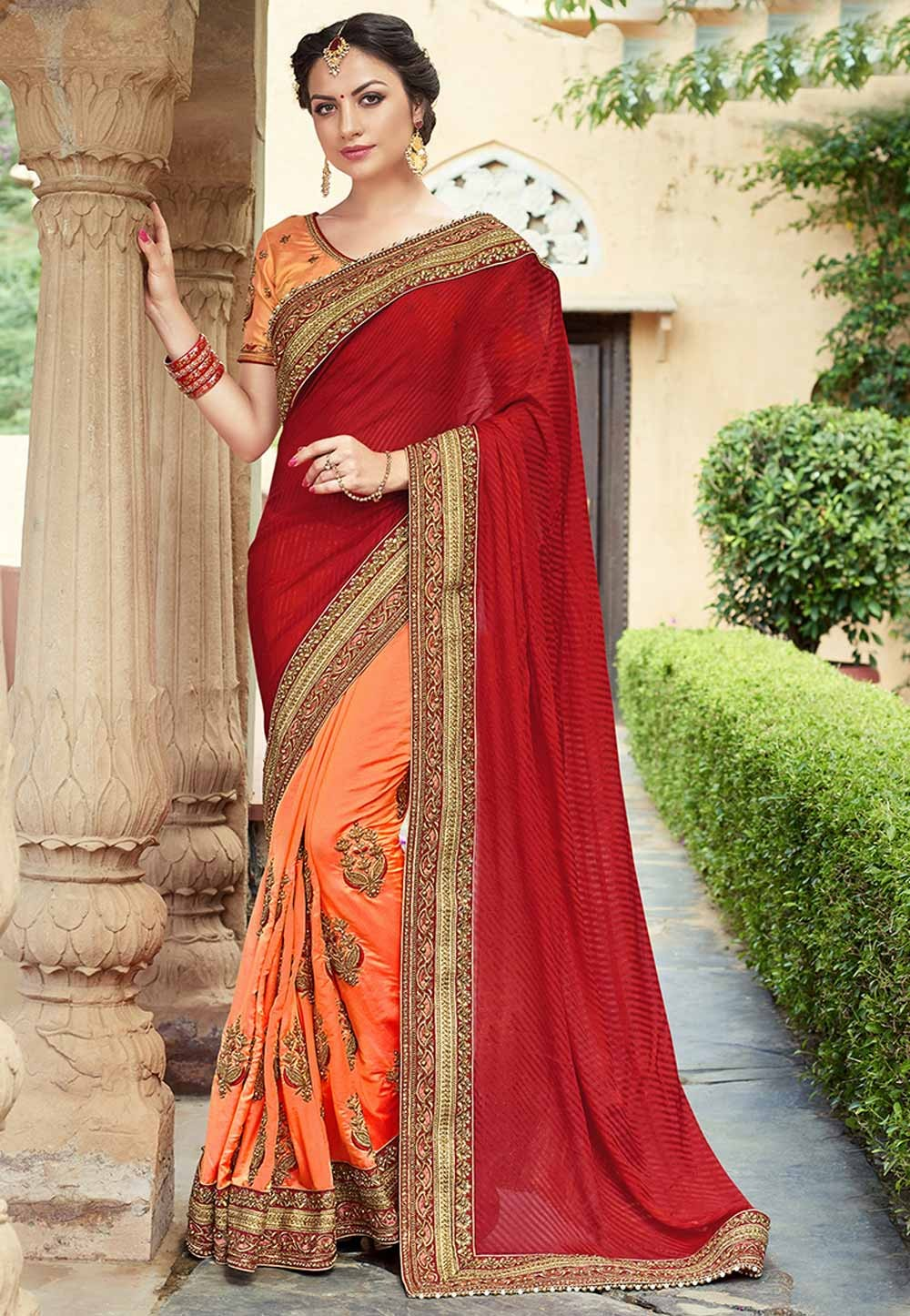 Designer Bridal Saree in Maroon,Orange Color